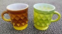 2 Vintage Fire King Coffee Cup Mug Yellow Green Kimberly Diamond Anchor Hocking