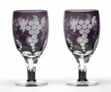 Edo Kiriko Wine Glass cup Goblet Set of 2 bottle Grape Purple Handcut Japan