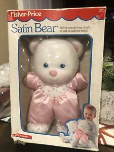 Vintage 1992 Fisher Price Baby Pink Satin Bear Plush Toy Lovey Teddy Stuffed NEW