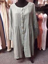HLT342 Seafoam 1X NWT Match Point Linen Shirt Flax Hankercheif Tunic Plus Button