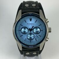 Fossil Mens CH2564 Black Leather Strap Blue Glass Dial Chronograph Wristwatch