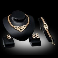 Wedding/Party Rose Plated 4 piece Crystal Necklace/Bracelet/Earring/Ring Set