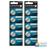 10 EVERACTIVE LITHIUM CELL CR2025 BATTERIES DL2025 3V COIN BUTTON EXP 2030 NEW