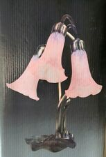 "VTG Wisteria Lighting 16"" Pink Tiffany Favrile Style Pond Lily Lamp 3 Light Lamp"