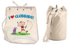 I LOVE CLUBBING DUFFLE BAG - Golfing Golf Gift Present College Rucksack Gym