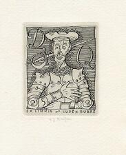 Cervantes, Don Quixote, Ex libris Etching by Ladislav J. Kaspar