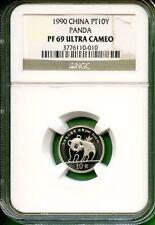 CHINA  1990 PANDA 1/10 OZ  PLATINUM  NGC PROOF   69 ULTRA CAMEO      10 YUAN