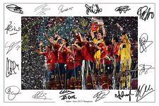 España Euro 2012 Squad autógrafo firmado foto impresión Cartel Autografos España