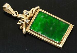Vintage 14K yellow gold 0.06CT diamond & 16 x 10mm jadeite pendant