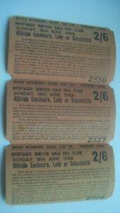 1968 MONTAGUE BURTON GALA HILL CLIMB TICKETS  X 3 No. at 2/6 HILLSIDE LADY CHILD