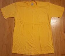 Vintage 90s JC PENNEY Towncraft blank tshirt L yellow polo plain pocket shirt