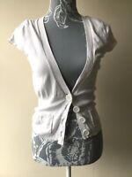Jane Norman Womens Cardigan Size 12 White Short Sleeved With Buttons And Pockets