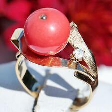 1900's Antique handmade 18k yellow gold 10mm salmon coral bead size 6 ring 3.9gr