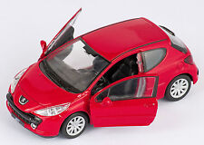 BLITZ VERSAND Peugeot 207 rot / red Welly Modell Auto 1:34 NEU & OVP