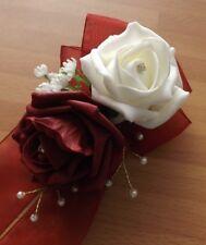 Wedding flowers wrist corsage ivory/burgundy rose & button hole burgundy rose
