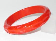 Vintage Bakelite Bracelet Bangle Deep Carved Rare Monza Red Marble Color