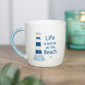 Life is Better at the Beach Mug, Seaside Themed Gift, Bone China Cup