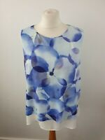 Phase Eight White Floral Sleeveless Scoop Neck Blouse Size 12
