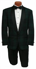 Vintage Mens 37R Black Watch Plaid Navy & Green 1 Btn Shawl Tuxedo Jacket