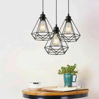 Modern Ceiling Pendant Light Fitting Cage Style Wall Pendant Lights Black Shade