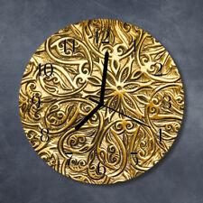 Glass Wall Clock Kitchen Clocks 30 cm round silent Mosaic Gold