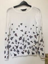 DOROTHY PERKINS LADIES WHITE FLORAL JUMPER RED BLUE FLOWERS LONG SLEEVES SIZE 10