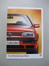 VW Golf Cabriolet Sport Edition brochure Prospekt German text 8 pages 1997