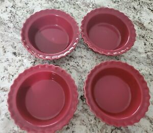 """SET OF 4 Chantal Red Stoneware 5"""" Individual Pie Dishes Scalloped Edge 1.5 cup"""