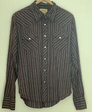 Vtg Mens Western Pearl Snap L B BDG Shirt Brown LS