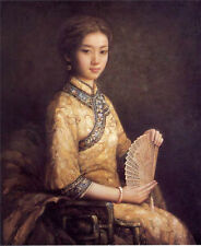 Hand painted art oil painting beautiful young chinese lady seated holding fan
