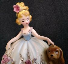 """Josef Originals Gorgeous Lady with Her Dog from 1967 """"My Favorite Things"""" Series"""