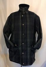 Mens Car Coat Medium Large POLO RALPH LAUREN Vtg Green Plaid Zipper Cargo Wool