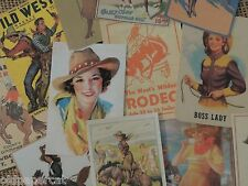 Lot of 12 Vintage COWBOY COWGIRL WESTERN DIE CUTS for CRAFTING   M8   Ships FREE