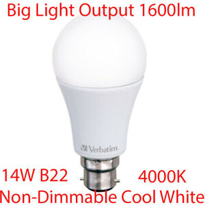 14W Non-Dimmable LED Light Globes Bulbs Lamp B22 Bayonet Cool White 4000K 1600Lm