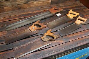 Bulk Vintage Antique Timber Wooden Handled Saw Carpentry Tool Disston Tenon