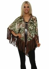 Just M Paris Green Print Satin Poncho With Suede Tassels
