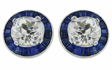 1ct Studs Earring Solid 925 Sterling Silver White Round Blue Baguette Jewelry Cz