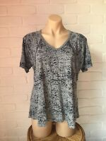 Grey Burnout Style V-Neck Casual Short Sleeve T-Shirt Top Size S Lee Cooper