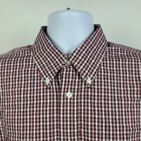 Brooks Brothers Regent Non Iron Red Check Mens Dress Button Shirt Size Large L