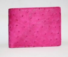 100% Genuine Ostrich Skin Leather Men's Bifold Wallet Lotus Pink