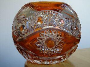 AMAZING VINTAGE VASE GLASS CRYSTAL BOHEMIAN ORANGE