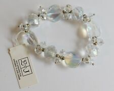 NWT L & J  AB Faceted Clear Crystal Chunk Beaded Stretch Bracelet