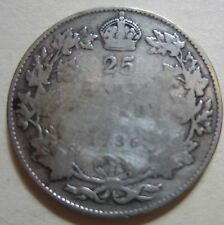 1936 Dot Canada Silver Twenty-Five Cents Coin. KEY DATE BETTER GRADE (RJ14)