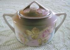 1909-1916 Three Crown China Hand Decorated Roses and Gold Leaves Lidded Jar