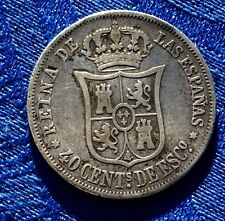 MONNAIEANCIENNE EN ARGENT 40 CENTIMOS ESCUDOS 1867 ESPANA