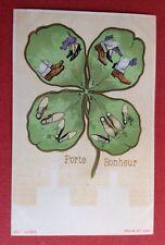 CPA. Porte Bonheur. Trèfle à 4 feuilles. SOULIERS. CHAUSSURES. Illustrateur ?