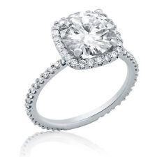 Ring 14k white gold R135 3.40ct Round Cut Moissanite Diamond Engagement