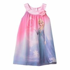 DISNEY Frozen Elsa Girls Pink Chiffon Trapeze Sheath A-line Summer Dress Size 6