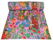 Floral Pink Print Indian Kantha Quilt Bedding Bedspread Blanket Cotton Gudri