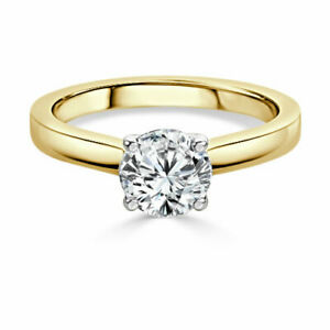 1.00 Ct Moissanite Round Cut Yellow Gold Valentine Ring 14K Solitaire Girl ring